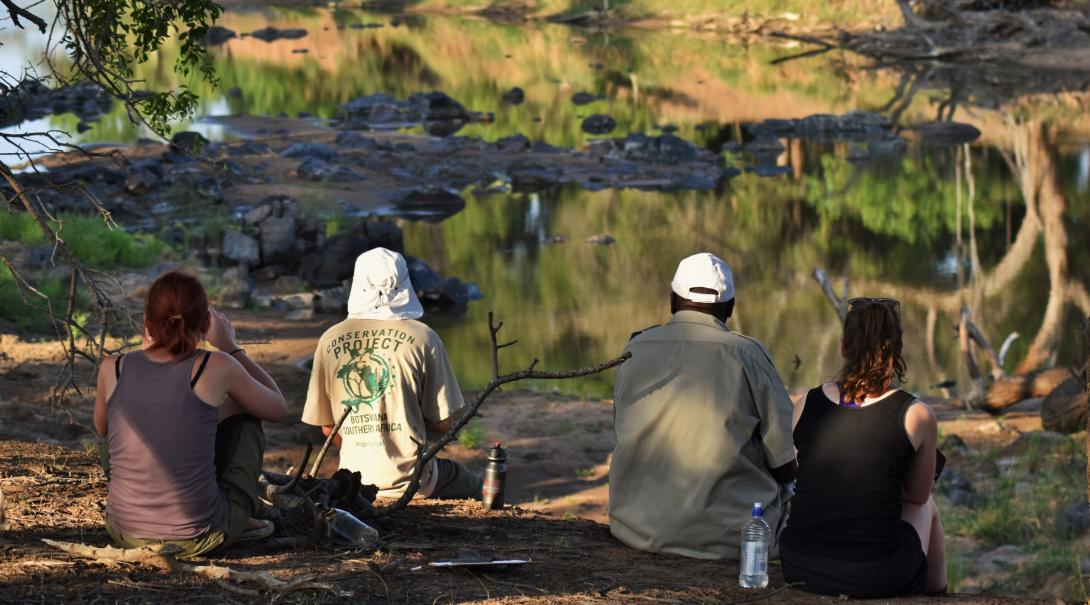 Students observe animals on a Conservation Program in Botswana.
